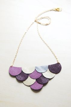 Scalloped leather necklace in purples.