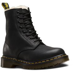 Dr. Martens Leather Serena Boots ($140) ❤ liked on Polyvore featuring shoes, boots, black, black leather boots, fake leather boots, slip resistant shoes, evening star boots and black shoes