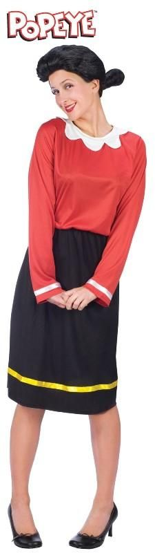 Olive Oyl Dress & Wig Includes dress with white collar and yellow ribbon stripe. Black wig.