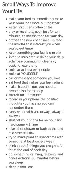 Small ways to make life better