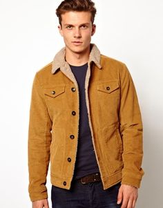United Colors Of Benetton Cord Jacket With Borg Collar