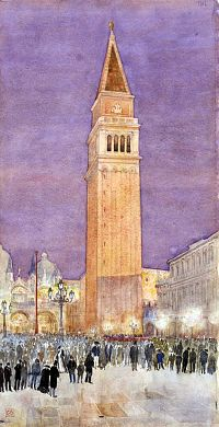 """""""Bell Tower, St. Mark's Square, Venice"""", 1912, Cass Gilbert, watercolor and pencil on paper, sheet: 20 x 10 5/8 in. (50.8 x 27.0 cm), Smithsonian American Art Museum, Bequest of Emily Finch Gilbert through Julia Post Bastedo, executor, 1962.13.10"""