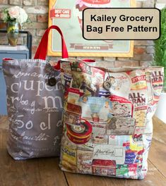 Kailey Grocery Bag Free Pattern - Sew Modern Bags - The Kailey Grocery Bag, a free sewing pattern is perfect for trips to the grocery store. Bag Sewing Pattern, Bag Pattern Free, Bag Patterns To Sew, Sewing Patterns Free, Free Sewing, Paper Grocery Bags, Reusable Grocery Bags, Sewing Basics, Sewing Hacks