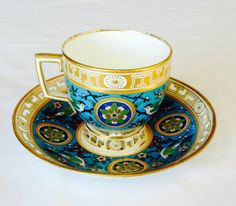Christopher Dresser Tea Cup & Saucer--Rare Antique 1875 Mintons  Wedding Gift- English Cup-Mortlock China-Minton-Victorian-Luxury Tableware