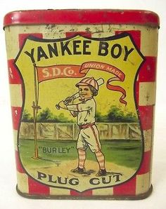 Antique 1910s 1917 YANKEE BOY NEW YORK YANKEES Detroit Tobacco Tin - Babe Ruth