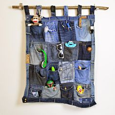 Old jeans get a new life with this fantastic denim pocket organizer tutorial. You'll love the rugged look of this organizer to hold small bits and pieces. Pillar Box Blue featured on Kenarry.com