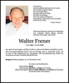 Todesanzeige für Walter Frener vom 06.12.2016 - VN Todesanzeigen