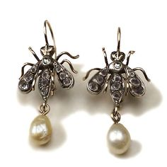 Bumbles!!!!! Antique Look 0 88ctw Rose Cut Diamond Honey Bee Earring, love these