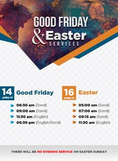Join Rev. Sam P. Chelladurai & the AFT Family for special Good Friday and Easter Services on 14th & 16th April 2017. Do not miss! Share it with your friends & family around the world, so that they could also listen, learn & be blessed. Good Friday Services Date: 14 April 2017 Tamil Service - 06:30 & 09:00 English Service - 11:30 Bilingual (English with Tamil translation) - 18:30 Easter Services Date: 16 April 2017 Tamil Service - 05:00, 07:00 & 09:15 English Service - 11:30 Time mentioned…