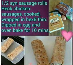 Ohh slimming world sausage rolls :-) Sausage Rolls, Chicken Sausage, Slimming World Recipes, Oven Baked, Healthy Eating, Healthy Food, Dips, Picnic, Healthy Recipes