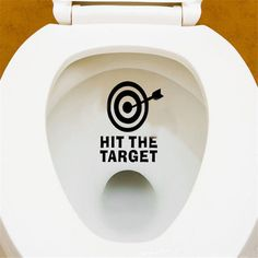 Toilet Seat Funny Hit The Target Waterproof Wall Stickers Home Room Decal Decor #Unbranded #ToiletWallStickerDecal