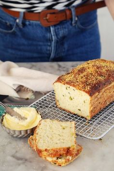 Joy the Baker makes an English muffin inspired savory bread with cheddar and scallion. Cheddar, English Muffin Bread, English Muffins, Sandwiches, Joy The Baker, Bread Toast, Breakfast Bake, Breakfast Ideas, Instant Yeast
