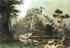 Frederick Catherwood's drawing of Chichen Itza before it was excavated.