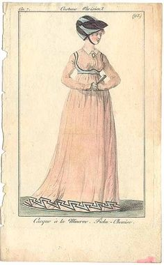 Journal des Dames et des Modes, 1798.  Wow…there is a lot going on here. Crazy multi-colored turban, 1980s lightening bolt trim, boob harness and high collar! It works…