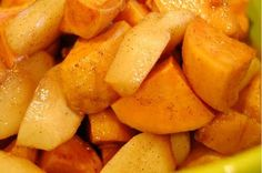 sweet potatoes and apples... very easy CROCKPOT- (Need i say more ;)  WISH MY KIDS would eat cooked apples bc this is my kinda dish- hiding veggies where ever I can;) -bh