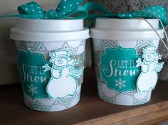 MINI CUPS BEST OF SNOW by Janis Sinko - There are so many cute versions out there, but got my first inspiration from http://stampladee.com/perfect-blend-mini-coffee-cups-with-deb-valder, which contains info as to where to order the 4oz mini cups along with pattern. The one with the string under the bow can be used as an ornament as well as a package for small gifts---that was my idea :)  My favorite snowman--Frosty--and I think he's cute as a mini Frosty too!