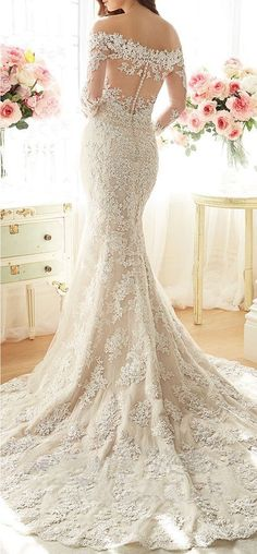 Lovelybride Off-shoulder Appliques Lace Mermaid Bridal Wedding Dress with 3/4 Sleeve | Amazon.com