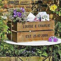Wedding gift ideas include a Wedding Plantabox with Seasonal Flowers and a large or small wedding plantabox. Unusual Wedding Gifts, Special Wedding Gifts, Wedding Crates, Wedding Boxes, Wedding Guest Book, Our Wedding, Dream Wedding, Wedding Wishes, Rustic Wedding