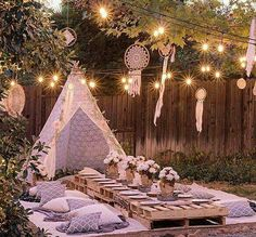 Boho evening baby shower table setting idea