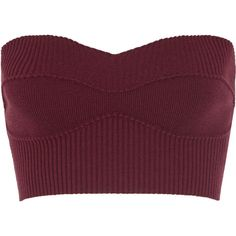 Victoria Beckham Cropped ribbed stretch wool-blend top ($735) ❤ liked on Polyvore featuring tops, crop top, bralets, burgundy, victoria beckham, purple top, sweetheart neckline crop top, bralette tops, bralet crop top and sweetheart neckline tops