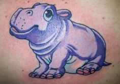 Amazing Blue Ink Hippo Tattoo On Back