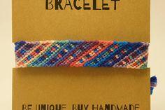 Color de rosa/azul pulsera, pulsera de la amistad con dibujos, colores pulsera tejida