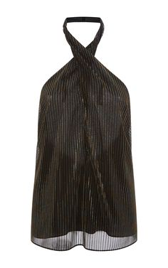 Iridescent Lurex Mesh Wrap Neck Halter Top by ROSETTA GETTY for Preorder on Moda Operandi