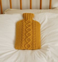 Knitted Hot Water Bottle Cosy, Cover, Golden Yellow - LANGLEY