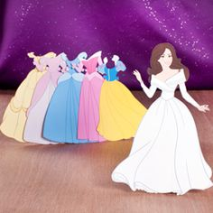 la Princesse Kate a inspiré de nombreux dessinateurs et illustrateurs : ici, elle est accompagnée de 6 robes tout droit sorties des plus beaux contes Disney !