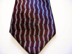 Stafford Maroon Grey Black Geometric Bar Zig Zag Necktie 100% Silk Tie Refined #Stafford #NeckTie