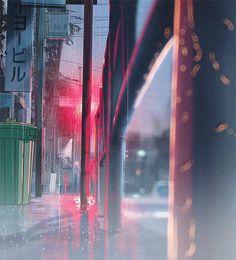 japanese street // rain & lights // animated digital art // anime