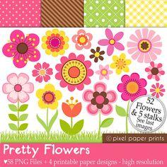 Pretty Flowers  Set de Clip Art y Papeles por pixelpaperprints, $6.00