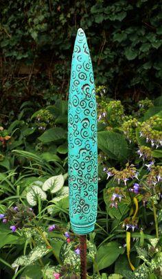 """Gartendekoration - Gartenstecker türkise """"SPITZE"""" strukturiert - ein Designerstück von Brigitte_Peglow bei DaWanda"""