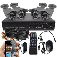 Best Vision System HD DVR Security Surveillance System with Hard Drive Installed and 4 x Indoor/Outdoor Night Vision Bullet Cameras with App for Smartphone Remote Monitoring Diy Security Camera, Best Security Cameras, Wireless Security Camera System, Home Security Tips, System Camera, Security Surveillance, Surveillance System, Camera Surveillance, Security Alarm