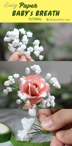 Super Simple and Realistic to Make Baby Breath Paper Flower - ♥ DIY ♥ .Super Simple and Realistic to Make Baby Breath Paper Flower - ♥ DIY ♥ - Paper Flower Craft This adorable paper flower c. How To Make Paper Flowers, Tissue Paper Flowers, Flower Paper, Ribbon Flower, Ribbon Hair, Hair Bows, Simple Paper Flower, Paper Flowers Roses, Rolled Paper Flowers