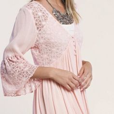 MY PRECIOUS DRESS 100% rayon. Babydoll dress with sheer lace bodice. Perfect dress to show off all your trendy braletts. Bell sleeve. PRICE FIRM UNLESS BUNDLED Boutique Dresses Mini