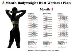butt workout plan - month 1,  month 2 & 3 on the original site.