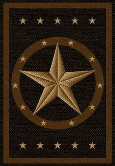 6 X 8 Black Texas Star Area Rug
