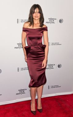 Katie Holmes in Zac Posen at the Tribeca Film Festival premiere of Miss Meadows.