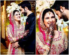Pakistani Bride And Groom. Cute! - Anoushey Abbasi wedding pic . Follow me here MrZeshan Sadiq