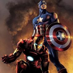 Iron Man and Captain America - Mike Deodato Jr. / Colors by David Ocampo [Marvel] Odin Marvel, Marvel Avengers, Marvel Comics Art, Bd Comics, Marvel Heroes, Captain Marvel, Thor, Deadpool Comics, Ultron Marvel