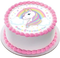 bolo unicórnio papel arroz 6th Birthday Cakes, Rainbow Birthday, Birthday Cake Girls, Unicorn Birthday Parties, Unicorn Party, Easy Cake Decorating, Cake Decorating Techniques, Simple Cake Designs, Cake Pictures