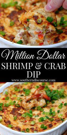 Million Dollar Shrimp & Crab Dip - a southern discourse Simple Food Recipes, Food Recipes Keto Shrimp And Crab Dip, Seafood Dip, Hot Crab Dip, Easy Crab Dip, Shrimp Scampi Dip, Crab Stuffed Shrimp, Crab Dip Recipes, Seafood Recipes, Cooking Recipes