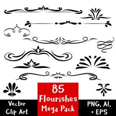 85 Flourishes- Clipart Mega Pack | Vector Text Dividers / Vector Clipart, Clipart Images, John Hancock, Mega Pack, Flourishes, Wood Carvings, Dividers, Printable Art, Design Elements