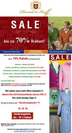 Sparen Sie bis zu 70% im WSV! Erstklassige Bekleidung zu wirklich günstigen Preisen. http://www.daniels-korff.de