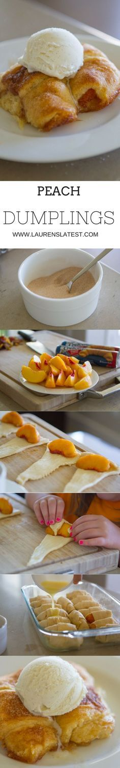 Peach dumplings....the easiest recipe for a fun summer dessert! And, no soda needed! Just butter, sugar, cinnamon, peaches and crescent rolls!