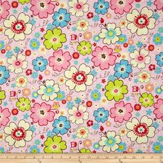 Riley Blake Happy Flappers Main Pink from @fabricdotcom  Designed by Kelly Panacci for Riley Blake, this cotton print is perfect for quilting, apparel and home decor accents.  Colors include pink, red, brown, yellow, aqua, lime and orange.