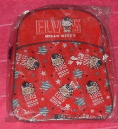 Elvis #hello kitty red #backpack rucksack #lunch, pe kit school bag 32 x 26 x 10c,  View more on the LINK: 	http://www.zeppy.io/product/gb/2/351534410162/