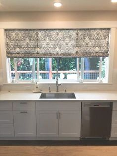 Marvelous photo - head to our report for a lot more choices! Basement Window Treatments, Kitchen Window Coverings, Roman Shades Kitchen, Custom Roman Shades, Diy Roman Shades, Diy Curtains, Basement Window Curtains, Window Seats, Kitchen Curtains