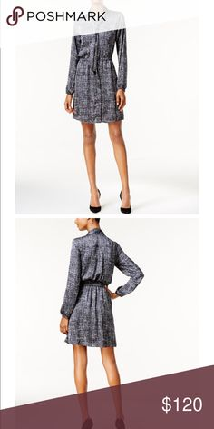 Michael Kors Women's Printed Tie Neck Shirtdress From Front desk to dinner, this pretty shift dress will keep you in tip-top style. Michael Kors Dresses Midi